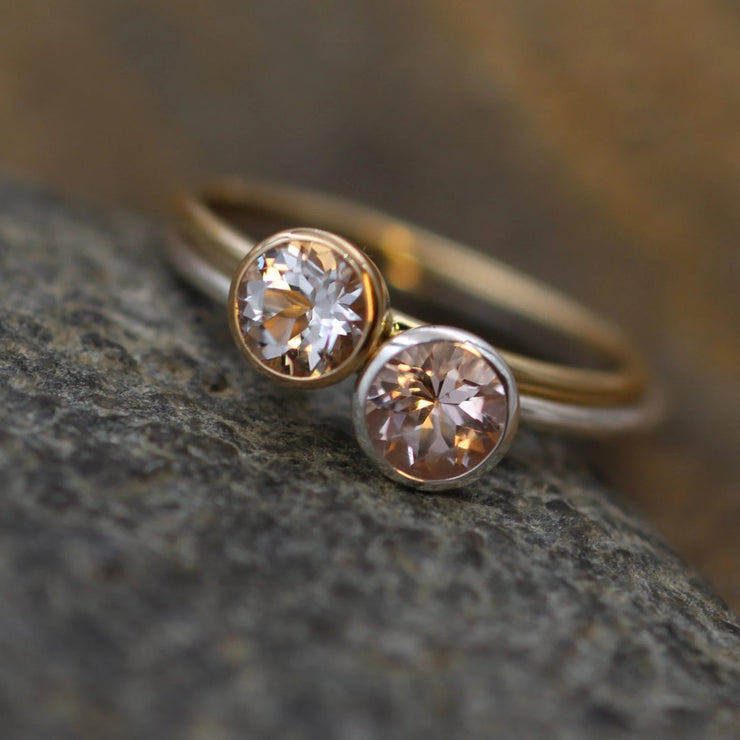 Morganite and White Topaz Yellow and White Gold Bezel Stacking Ring Set - 5mm Topaz and 5mm Morganite - Round glossy band - handmade rings