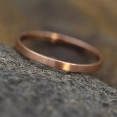 14kt Rose Gold Band 2x1mm with Matte Finish - Hand Made in solid 14 kt Rose Gold - Wide Band - Thin Gold Ring - Gold Band