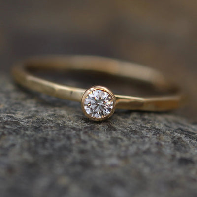 Diamond Stacking Ring - 3mm, Glossy Finish, 0.11 ct - Engagement Ring - Diamond Gold Stacking Ring - VS Ring