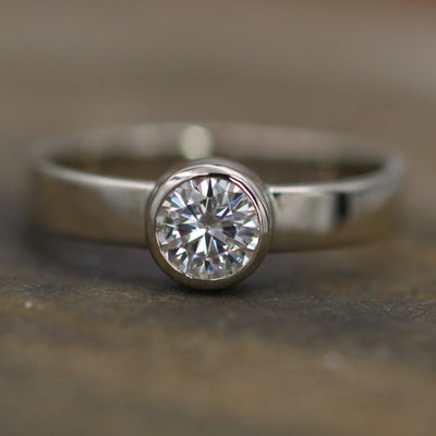 Moissanite White Gold 5mm Glossy Bezel Engagement Ring - Wide Band -  Traditional Style Ring - Hand Fabricated - Solitaire Ring