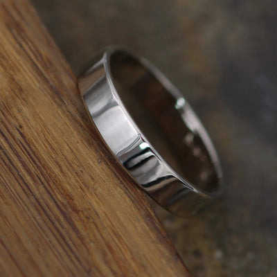 14kt White Gold Shiny 4x1mm Wide Band - Men or Womens Wide Band - Thin Gold Ring - White Gold Band - Low Profile Gold Band