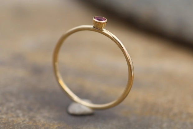 2.5mm Ruby Gold Matte Finish Round Stacking Ring - Made in Solid 14 kt Yellow Gold - Gold Ring - Matte Ring - Stackable Gold Ring