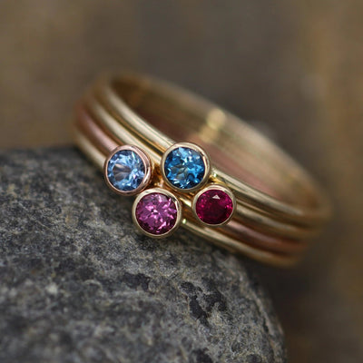 Aquamarine, Ruby, Rhodolite Garnet & Aquamarine Glossy Finish Round Gold Stacking Ring Set - Made in Solid 14 kt Gold