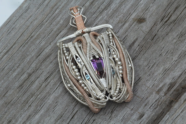 Ametrine Wire Wrapped Pendant - Substantial Wire Wrapped Pendant - Handmande Wire Wrapped Pendant, Argentium and Rose Gold