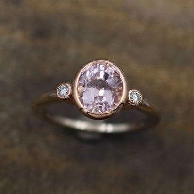 Kunzite Oval Two Tone Rose and White Gold Bezel Ring - Kunzite Engagement Ring - Kunzite Ring - Kunzite and Diamond Ring