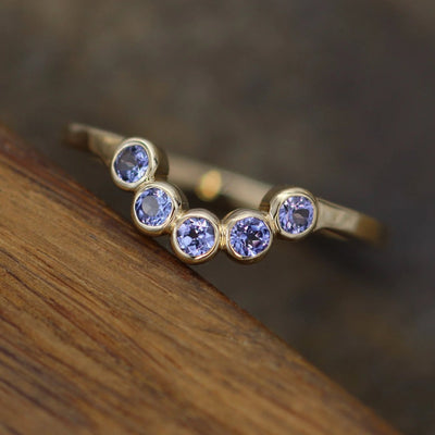 Tanzanite Half Moon Yellow Gold Ring - Tanzanite Multi Bezel Ring - Wraparound Ring - Tanzanite Moon RIng - Tanzanite Gold Ring