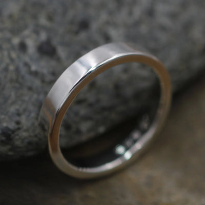 Sterling Wide Band 4x2 mm with Glossy or Matte Finish - hand made in Sterling Silver - Mens Band - Silver Ring - Silver Band