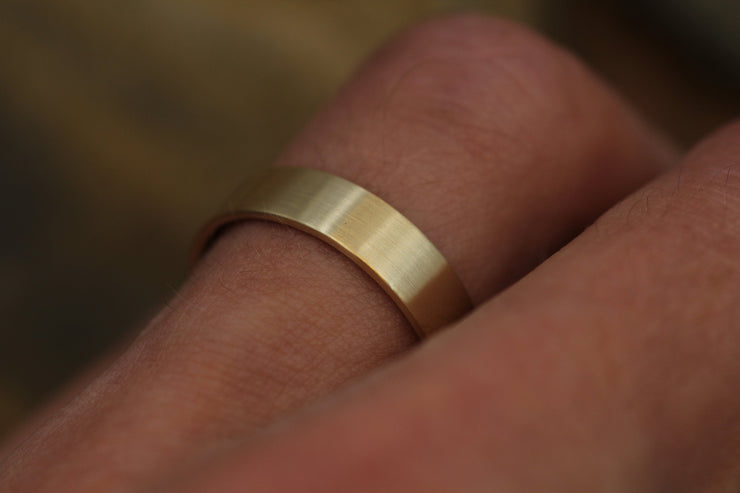 14kt Yellow 5x1mm Matte Wide Gold Band - Matte Band- Mens Wide Band - Flat Gold Ring - Yellow Gold Band - Low Profile Gold Band