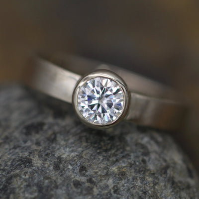 Moissanite 5mm Bezel Engagement Ring - Matte Finish - Wide Band - Silver or Gold - Traditional Style Ring - Hand Fabricated - Solitaire Ring