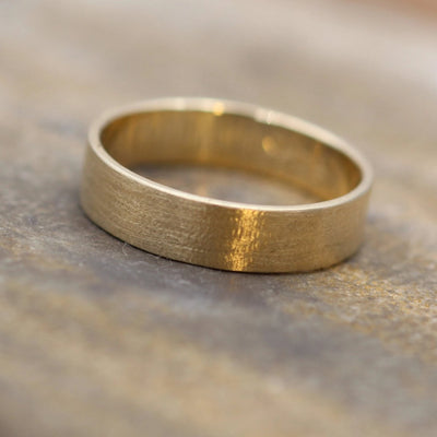 14kt Yellow 5x1mm Textured Wide Gold Band - Textured Band- Mens Wide Band - Flat Gold Ring - Yellow Gold Band - Low Profile Gold Band