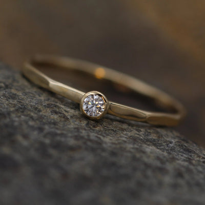 Diamond Stacking Ring Glossy Finish - 2.5 mm, 0.05 ct - Engagement Ring - Diamond Silver or Gold Stacking Ring - VS Ring
