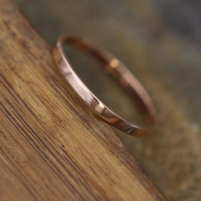 14kt Rose Gold 2x1mm Shiny Finish Band - Hand Made in solid 14 kt Rose Gold - Wide Band - Thin Gold Ring - Gold Band