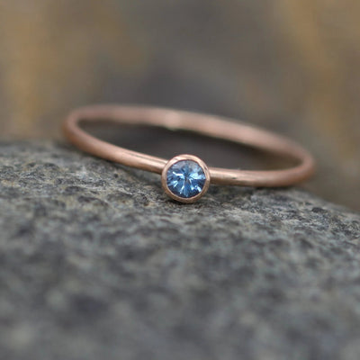 Aquamarine 3mm Matte Rose Gold  Stacking Bezel Ring - Made in Solid 14 kt Rose Gold - Gold Ring - Matte Ring