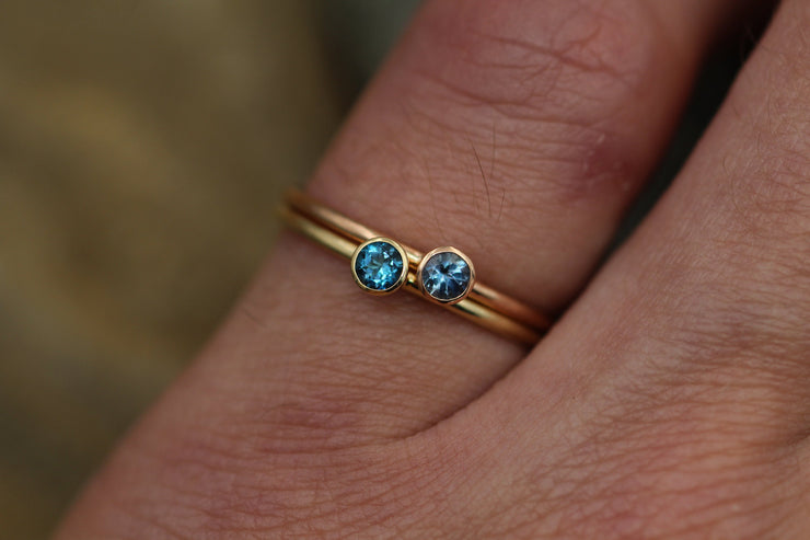 Aquamarine and London Blue Topaz Yellow and Rose Gold Mixed Metal Stacking Ring Set - Bezel Ring Set - Aesthetic Ring Set - Pink Gold Rings