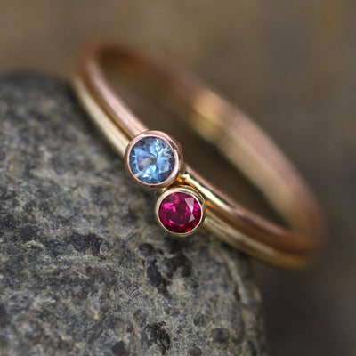 Aquamarine and Ruby Yellow and Rose Gold Mixed Metal Stacking Ring Set - Aquamarine and Ruby Bezel Rings - Mixed Metal Bezel Rings