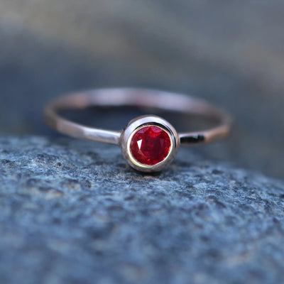 Ruby Rose Gold Bezel Ring - Ruby Solitaire Ring - Red Ruby Ring - Faceted Ruby Ring - Ruby Engagement Ring - Hammered Ruby Ring