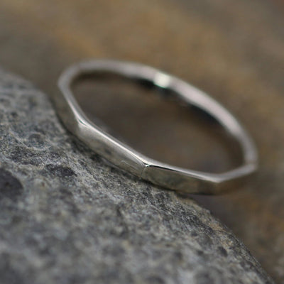 Solid 14 kt White Gold 2mm Thick Ring -  Thick White Gold Hammered Band - Simple band - Hand Made