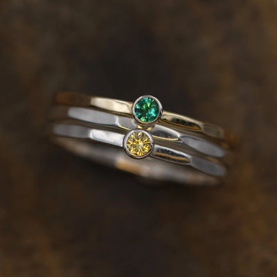 Emerald and Yellow Sapphire Stacking Ring Set - Yellow, White Gold and Silver - Yellow Sapphire Ring - Emerald Ring -1.4 mm Stacking Bands