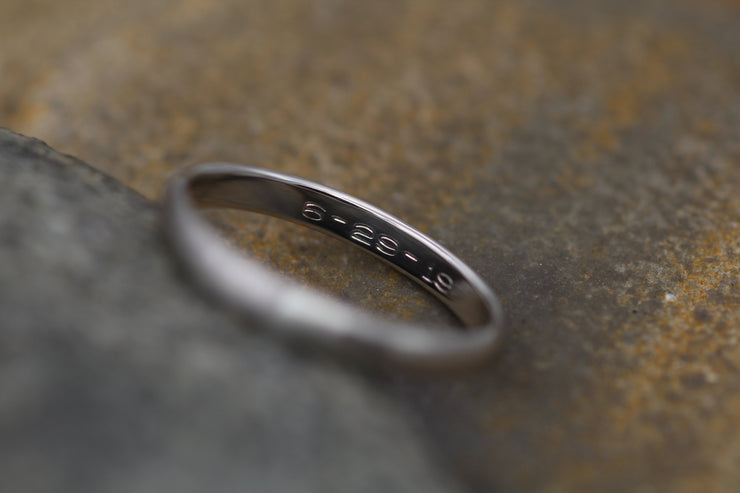 Platinum Matte Band 2.5x1.2mm - Simple Platinum Band - Smooth Platinum Band - Engravable Band - Half Round Band - Hand Made in 950 Platinum