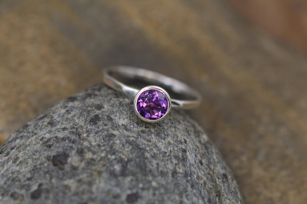Amethyst Ring - 6mm, 1.5mm band  Glossy Finish - Skinny Stacking Ring - Stacking Band - Stackable - Amethyst Argentium