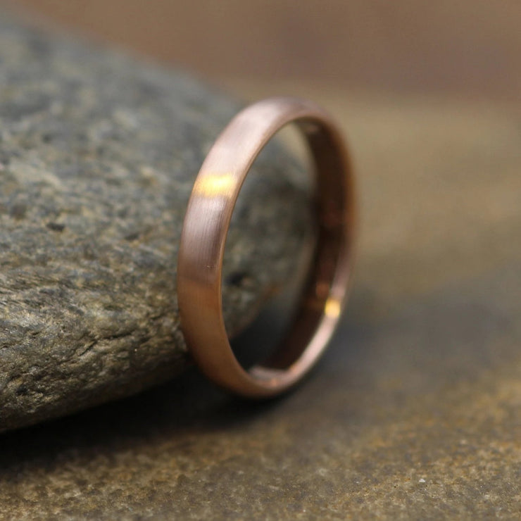 Half Round 3x1.5mm Rose Gold Matte Finish Ring - Simple Wedding Band - Smooth Texture Half Round Band hand made in 14 kt gold