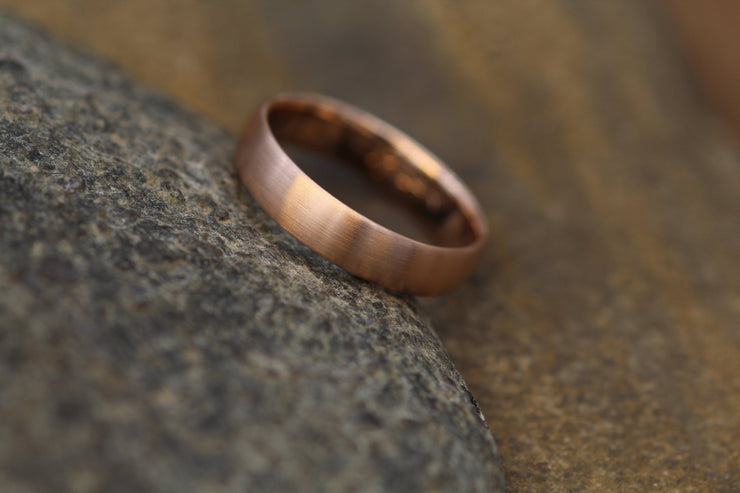 Wide Rose Gold Band 4x 1.5mm, Matte Finish , Comfort Fit - Smooth Band - Engravable Band - Half Round Rose Gold Band - Hand Made