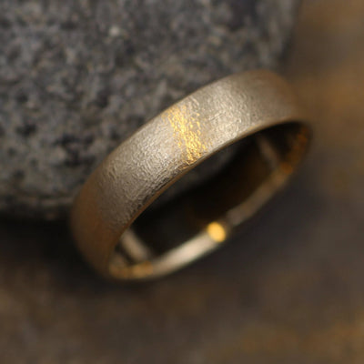 Wide Textured 14kt Yellow Gold Band 5.5x1.7mm,  Comfort Fit - Smooth Band - Engravable Band - Half Round Gold Band - Hand Made