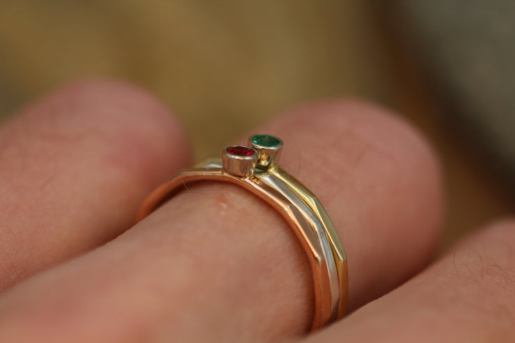 Ruby and Emerald Stacking Ring Set - Yellow, Rose Gold and Silver - Emerald Ring - Ruby Ring -1.4 mm Stacking Bands