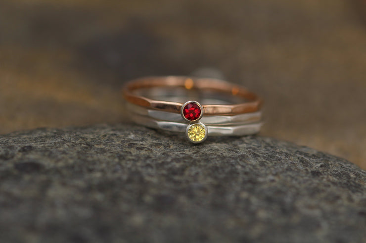Ruby and Yellow Sapphire Stacking Ring Set - Rose, White Gold and Silver - Yellow Sapphire Ring - Ruby Ring -1.4 mm Stacking Bands