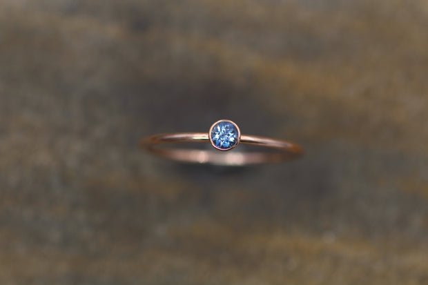 Aquamarine 3.5mm Shiny Rose Gold  Stacking Bezel Ring - Made in Solid 14 kt Rose Gold - Gold Ring - Aquamarine Solitaire Bezel