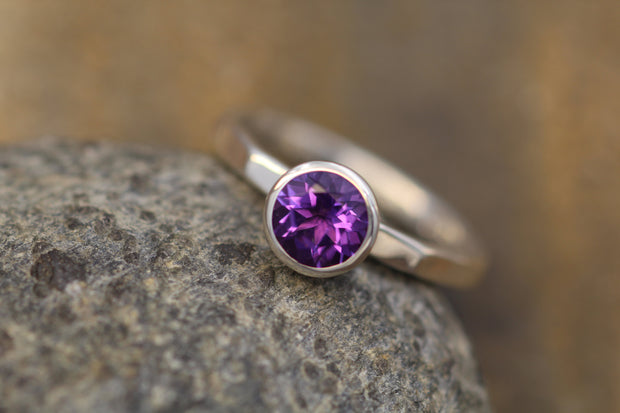 Amethyst Ring - 6mm, 2mm band Shiny Finish - Substantial Stacking Ring - Stacking Band - Argentium Stacking - Amethyst Argentium