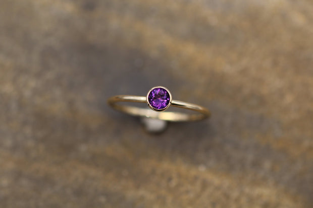 Amethyst 4mm Shiny Gold Stacking Bezel Ring - Amethyst Bezel Ring - Amethyst Stacking Ring - February Birthstone Ring - Bezel Ring