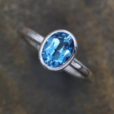 Swiss Blue Topaz 7x9mm Bezel Ring - Glossy Finish Solitaire Ring - Round Topaz Ring - Alternative Engagement Ring - 2mm Band - Oval Ring