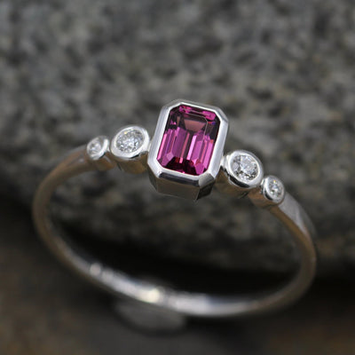 Rhodolite Garnet Ring - Rhodolite Emerald Cut  & Diamond Alternative Engagement Ring - Engagement Ring - Garnet Bezel Ring - Octagon Ring