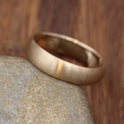 Wide Yellow Gold Band 4.5x 1.5mm, Matte Finish , Comfortable Band - Smooth Band - Engravable Band - Half Round Gold Band - Hand Made