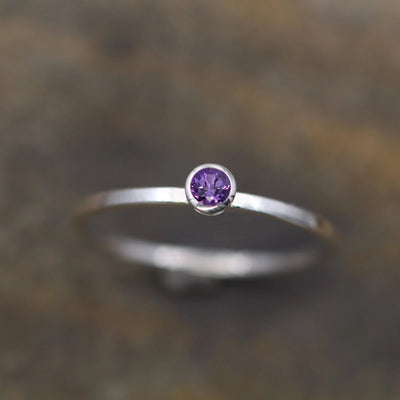 Lilac Amethyst 3mm Stacking Ring - Silver Stacking Ring - Precision Cut Amethyst Ring - Amethyst Bezel Ring