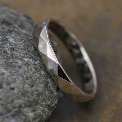 White Gold 3x1.5mm width Hammered/Faceted Texture - Simple Gold Band - Personalized, Custom Engraving, Stackable, Hand Made