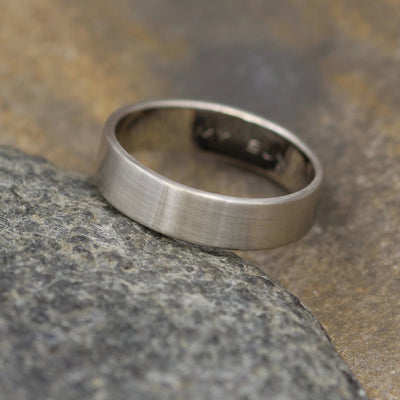 14kt White Gold 5x1.2mm Wide Band -Matte Finish - Mens Wide Band - Low Profile Gold Ring - White Gold Band