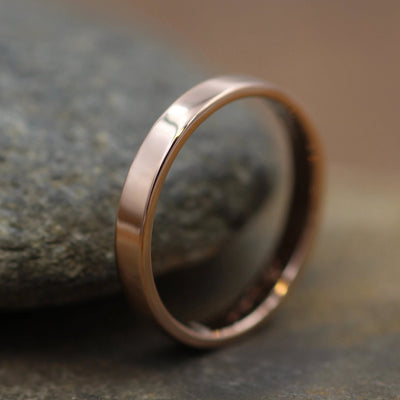 14kt Rose Gold 3x1.2mm Glossy Flat Band - Hand Made in solid 14 kt Rose Gold - Wide Band - Gold Band
