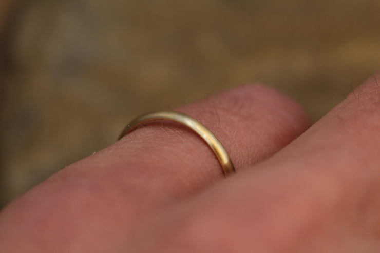Rose Gold 14kt 2x1.2mm Matte Finish Band - Simple Rose Gold Band - Smooth Band - Engravable Band - Half Round  Pink Gold Band