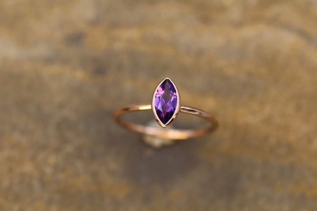 Amethyst 8x4mm Marquise Rose Gold Bezel Ring With Knife Edge Band -  Amethyst Bezel Ring - Amethyst Stacking Ring - February Birthstone Ring