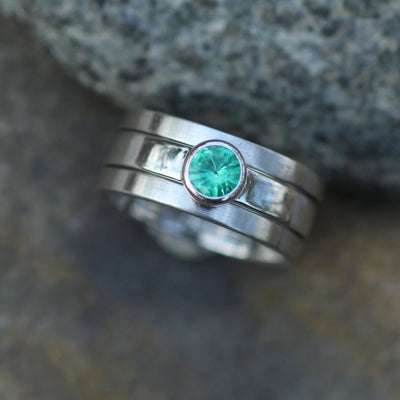 Emerald Platinum Bezel Ring Set - Mixed finish Emerald Ring Set - Platinum Emerald Stacking Ring Set - Emerald Bezel Set