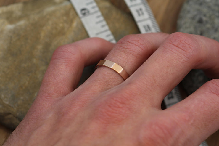 Rose Gold Faceted Matte Wide Band - 4x1mm - Hand Made in 14kt Rose Gold - Mens or Womens Wide Band - Wide Rose Gold Ring - Rose Gold Band
