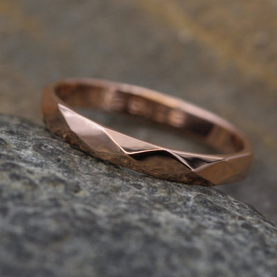 Rose Gold Simple Band with Hammered/Faceted Texture and Personalized, Custom Engraving, Stackable, Hand Made