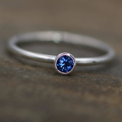 Ceylon Sapphire 3mm White Gold Stacking Bezel Ring with Round Band - Glossy Finish - Hand Made in Gold -  Sapphire Bezel Ring
