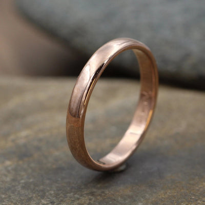 Wide Rose Gold Band 3.5x 1.5mm, Shiny Finish - Pink Gold Band - Engravable Band - Half Round Gold Band - Hand Made