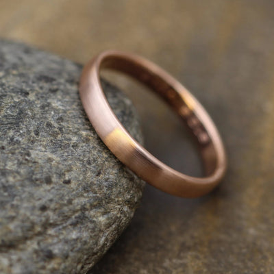 Wide Rose Gold Band 3.5x 1.5mm, Matte Finish - Pink Gold Band - Engravable Band - Half Round Gold Band - Hand Made