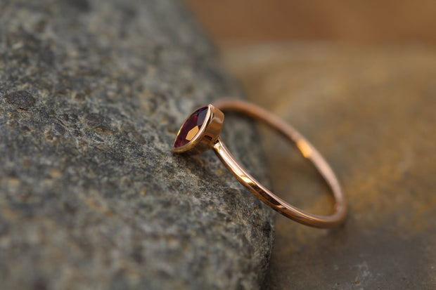Amethyst 6x3mm Marquise Rose Gold Bezel Ring With Knife Edge Band -  Amethyst Bezel Ring - Amethyst Stacking Ring - February Birthstone Ring