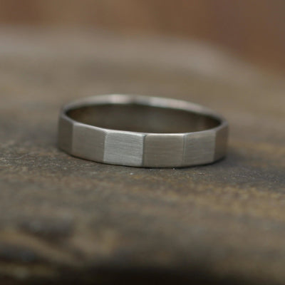 White Gold Faceted Matte Wide Band - 4x1mm - Hand Made in 14kt White Gold - Mens or Womens Wide Band - Wide Gold Ring - White Gold Band
