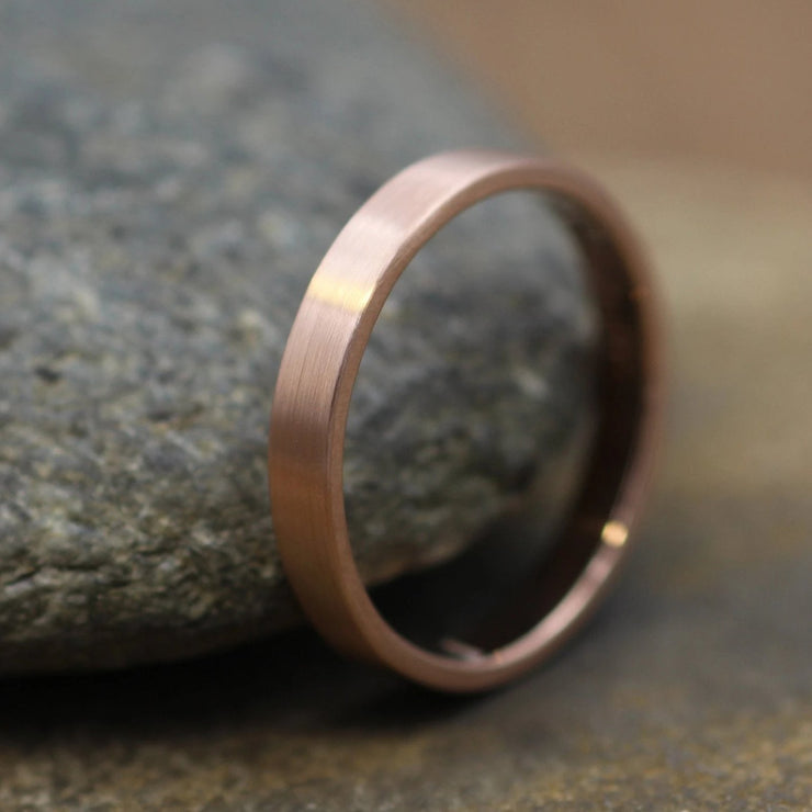 14kt Rose Gold 3x1.2mm Flat Band with Matte Finish - Hand Made in solid 14 kt Rose Gold - Wide Band - Gold Band